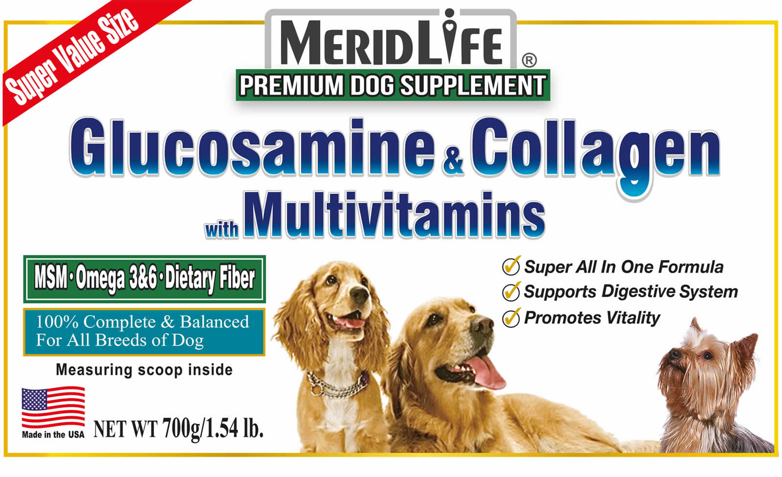 Glucosamine & Collagen with Multivitamin Supplement Facts